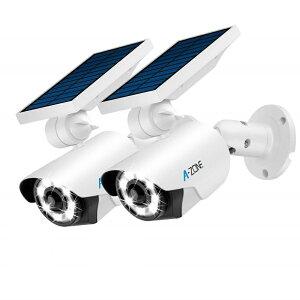 【2個セット】 ソーラーライト センサーライト 送料無料 ダミーカメラ 屋外 人感 LED 防犯 カメラ型 防水 ガーデンライト 配線不要 壁掛け