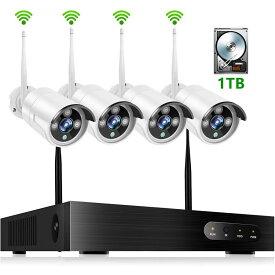防犯カメラ ワイヤレス 屋外 200万画素Wi-Fiカメラ×4台 Wi-Fi録画チューナー (HDD 1000GB内蔵) セット ビデオ監視システム セキュリティカメラ 室内 室外