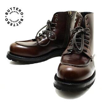 BUTTERO / buttero 日本劳力士跑上板栗 (深棕色皮革) 在意大利制造的 B5346 / 花边靴工作靴、 工作靴 / 男士 / 男式皮革 /