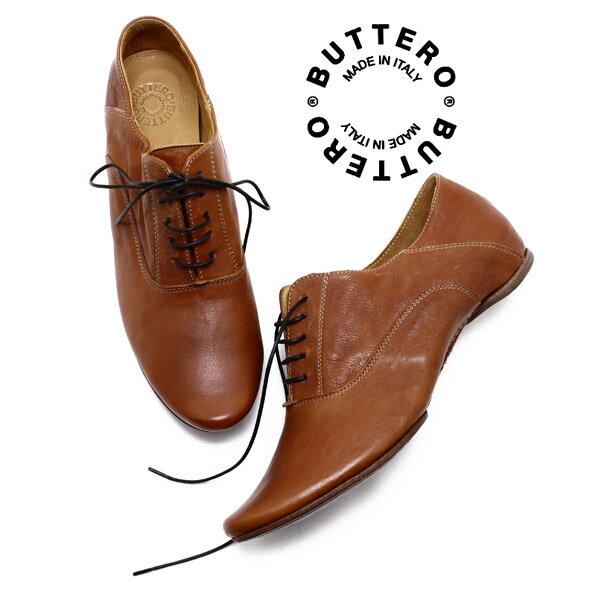 BUTTERO/ブッテロ 日本正規品 B610 レースアップシューズ CUOIO(ブラウンレザー) イタリア製/バブーシュ/紐靴/レディース/ペタンコ/本革/