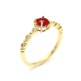Red coral / red coral round cabochon cut K18 0.06 ct diamond ring (blood red coral) blood red / red coral / Kochi, Tosa offing / women's / ring / ring / Diamond