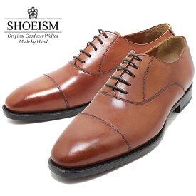 SHOEISM シューイズム 303 内羽ストレートチップ レザーソール BROWN ビジネス/ドレス/紐靴/革靴/メンズ