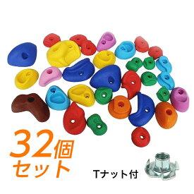 クライミングホールド ボルダリング 用 カラフルホールド ボルト付き 32個セット