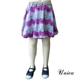 【SALE 50%OFF】UNICA(ユニカ) にゃんこスカラップ柄 リバーシブルスカート (80-150)  子供服 女の子 おしゃれ