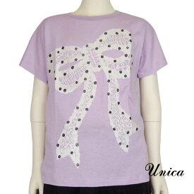 【SALE 50%OFF】UNICA(ユニカ) リボン Tシャツ (90-140) 半袖 子供服 女の子 おしゃれ