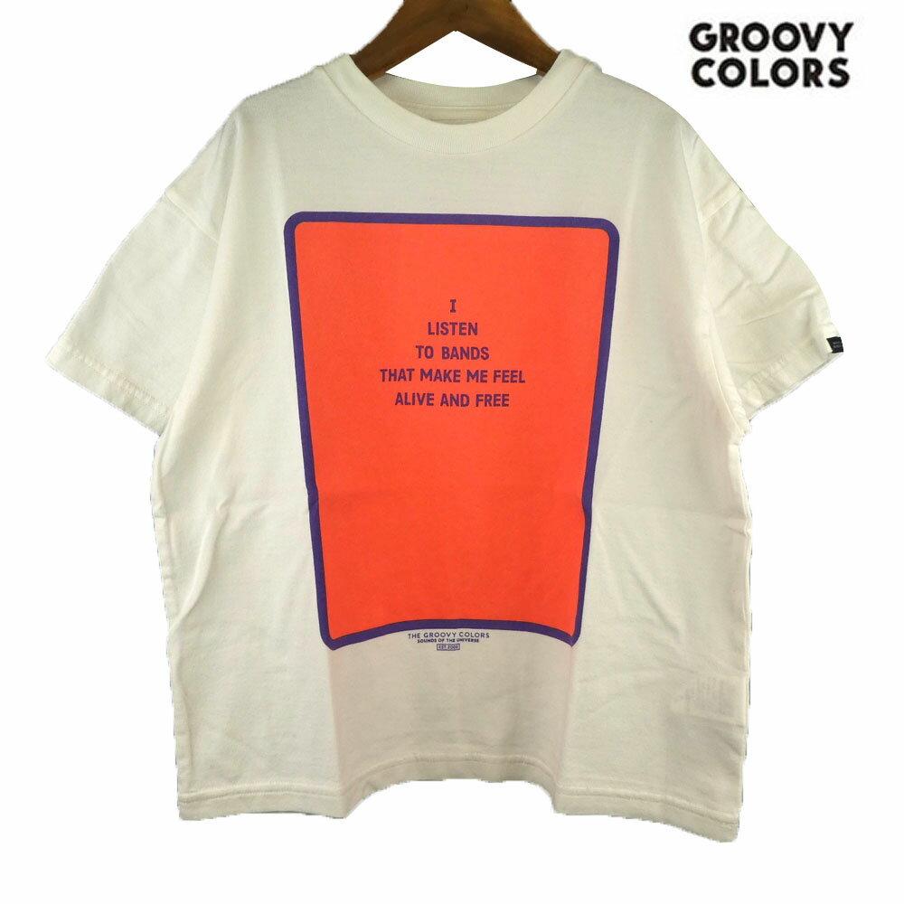 GROOVY COLORS(グルービーカラーズ) テンジク I LISTEN TO BANDS BIG TEE (120-140) 半袖Tシャツ おしゃれ キッズ 男の子 かわいい 子供服