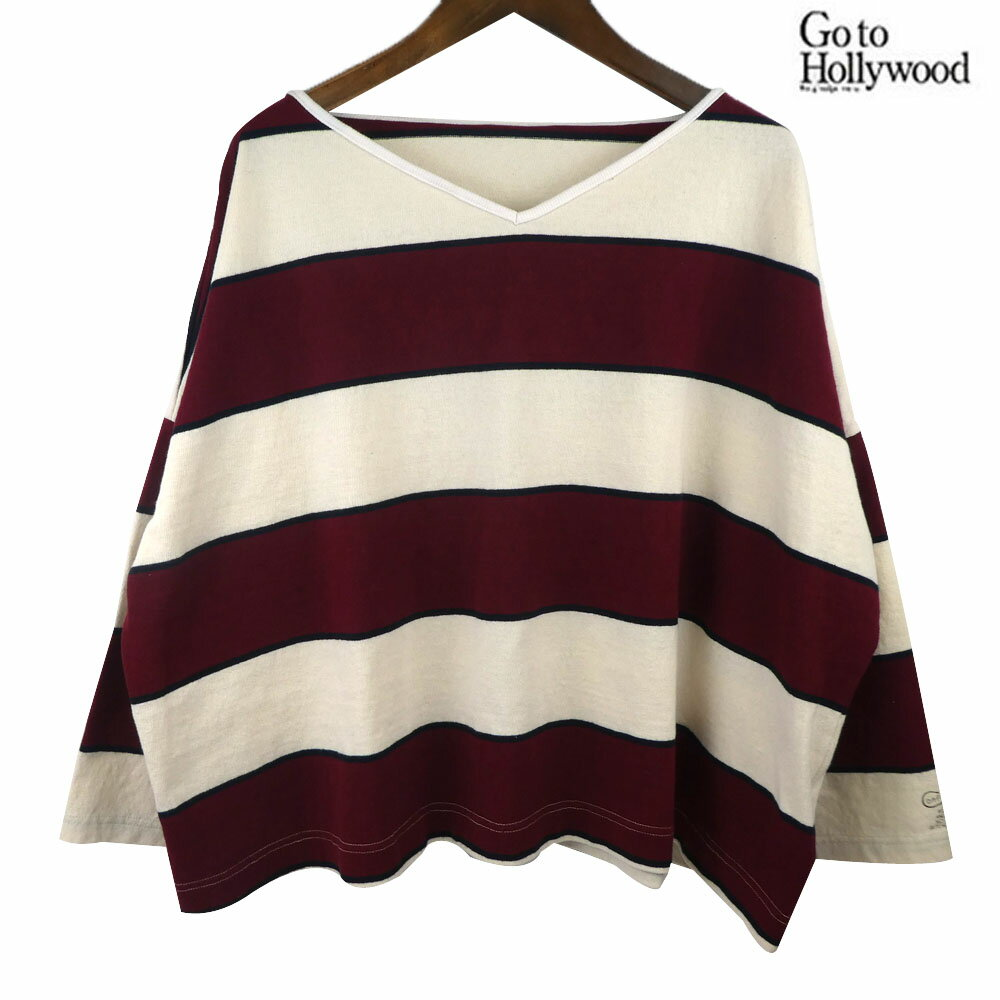 GO TO HOLLYWOOD(ゴートゥハリウッド)ボーダーテンジク サコ TEE (150-160) 8分袖Tシャツ おしゃれ レディース