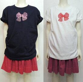 MOMENT(モーメント) リボン emb Tシャツ (90-160) 半袖Tシャツ おしゃれ 女の子 かわいい 子供服
