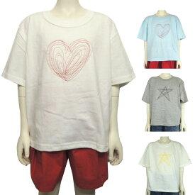 MOMENT(モーメント) STITCH BIG Tシャツ (100-150) スター ハート 半袖Tシャツ おしゃれ 男の子 女の子 かわいい 子供服