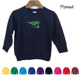 MOMENT(モーメント) ダイナソー emb SWEAT 名入れ刺繍 (80-130) 恐竜 半袖Tシャツ おしゃれ 男の子 女の子 かわいい 子供服