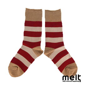 melt(メルト) ラメリブ ボーダーソックス (13-24cm) 靴下 おしゃれ キッズ 女の子 かわいい 子供服