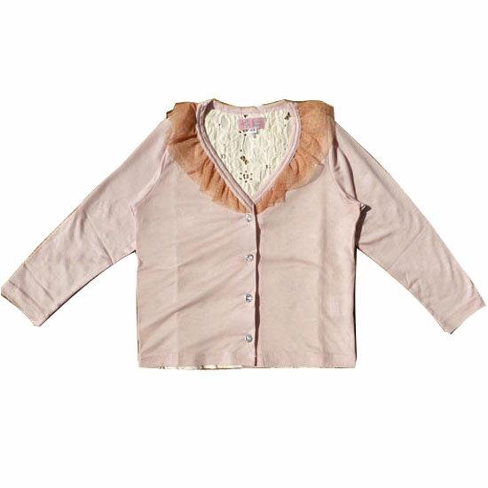 【SALE 30%OFF】LaLa Dress(ララドレス) ラメフリルカーデ (80-140) カーディガン 入学式 おしゃれ キッズ 女の子 かわいい 子供服 日本製
