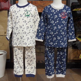 【DM便送料無料】ampersand(アンパサンド)Boy'sマリン柄パジャマ (80-130) 子供 長袖 綿100 男の子 女の子
