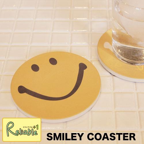 【DM便で送料162円♪】SMILEY COASTER(スマイリーコースター) 2枚セット セラミック 裏面コルク セラミックコースター 吸水コースター 陶器 結露 輪染みを防ぐ 茶たく 茶托 カフェ 吸水