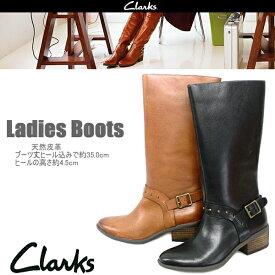 クラークス Clarks ロングブーツ 本革 レディース