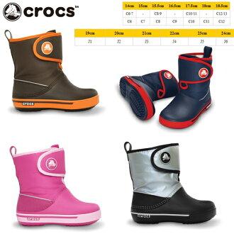 Crocs 鞋孩子儿童冬季靴子时钟带 2.5 ガストブーツ 孩子 crocs crocband 2.5 12905 阵风引导孩子男孩女孩冬鞋黑 / 海军 / 棕色 / 粉红色-