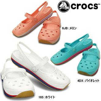 Crocs 女士凉鞋回表带复古玛丽珍妇女的鳄鱼复古玛丽珍 w 14134 妇女的轻量级平底鞋女士黑色胸部悠嘻猴疲劳女士女式凉鞋-
