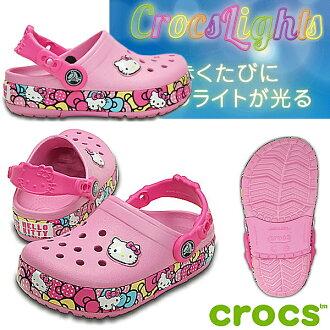卡駱馳鞋你好凱蒂鱷魚 Crocslights Hello Kitty 絲帶堵塞 201262 發光! 孩子們的涼鞋-