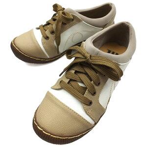 WILSON LEE SPORTS[ウィルソンリースポーツ]カジュアルレースアップシューズ ホワイト/ベージュ 4.0cmミドルヒール レディース 靴 スニーカー 3E 幅広設計 撥水加工 低反発インソール