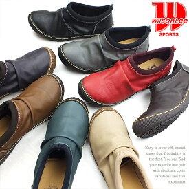 WILSON LEE[ウィルソンリー]カジュアルシューズ スリッポン ブラック 3.0cmローヒール レディース 靴 3E 幅広設計 撥水 ドライビングシューズ カジュアル 小さいサイズ 大きいサイズ