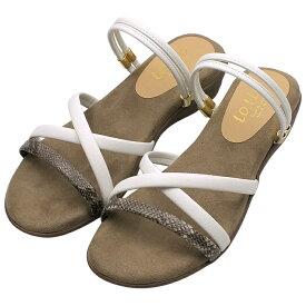 サンダル ホワイト ミュール レディース ぺたんこ つっかけ ストラップ パイソン柄 ローヒール 2way ネックストラップ クッションインソール 小さいサイズ 快適 屈曲 痛くない 歩きやすい 疲れない 靴 婦人靴 2020春夏【WH】