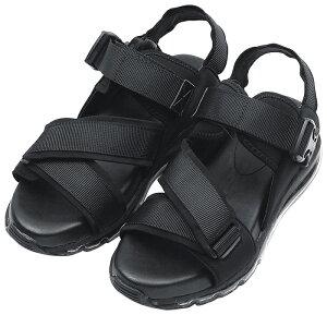 エアソール スポーツサンダル ブラック 厚底 ベルクロ 面ファスナー マジックテープ ネックストラップ 快適 痛くない 歩きやすい 疲れない 靴 婦人靴 夏 リゾート 美脚 小さいサイズ 2020春夏