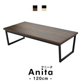 テーブル ローテーブル コーヒーテーブル センターテーブル リビングテーブル ヴィンテージ アイアン ウッド スチール ブルックリン 男前 横幅120cm アニータ120cm