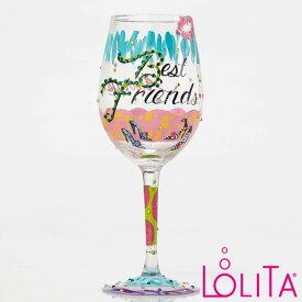 Lolita ワイングラス BEST FRIENDS ALWAYSロリータ ハンドペイント グラス wine glass プレゼント おしゃれ ギフト キュート ポップ アメリカ セレブ愛用 ブランドEnesco社認定 日本正規総代理店 #4053096
