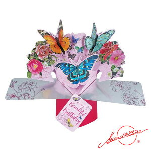 ポップアップカード バースディ ビューティフル バースディ バタフライ【Second Nature】グリーティングカード 飛び出す メッセージカード 3D 立体的 POP UP Card 誕生日 Birthday バースデー バース