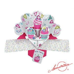 ポップアップカード ハッピーバースディ カップケーキ【Second Nature】グリーティングカード 飛び出す メッセージカード 3D 立体的 POP UP Card 誕生日 Birthday バースデー バースデイ たんじょうび