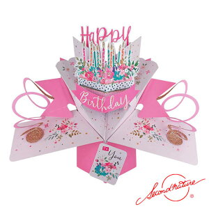 ポップアップカード ケーキ【Second Nature】グリーティングカード 飛び出す メッセージカード 3D 立体的 POP UP Card 誕生日 Birthday バースデー バースデイ たんじょうび お祝い ピンク 正規代理店