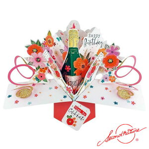 ポップアップカード バースデー フラワー&ワイン【Second Nature】グリーティングカード 飛び出す メッセージカード 3D 立体的 POP UP Card 誕生日 Birthday バースデー バースデイ たんじょうび お