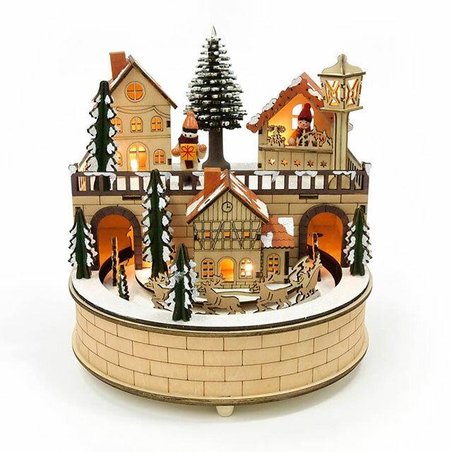 ウッドライトオルゴール スノータウンクリスマス Xmas Christmas 木製 フィギュア 置物 インテリア 装飾 北欧 雑貨 カントリー ナチュラル シンプル 電池式 オルゴール ネジ式オルゴール ミュージカル