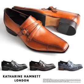 キャサリンハムネット ビジネスシューズ 靴 革靴 紳士靴 メンズ 本革 スリッポン ベルトストラップ 31501