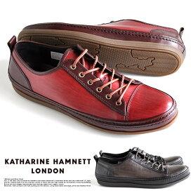 キャサリンハムネット 靴 メンズ スニーカー レザー 本革 カジュアル レッド グレー 31576