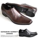 【サイズ交換1回無料】キャサリンハムネット ビジネスシューズ 靴 革靴 紳士靴 メンズ 本革 サイドレースアップ メダ…