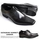【サイズ交換1回無料】キャサリンハムネット ビジネスシューズ 靴 革靴 紳士靴 メンズ 本革 スワローモカ Vフロント 3…