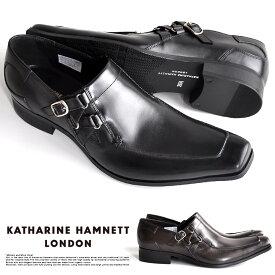キャサリンハムネット 靴 メンズ ビジネスシューズ 本革 スリッポン ベルトストラップ KATHARINE HAMNETT 3970