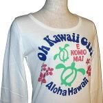 OHKAWAIIGIRL_ホヌ柄(亀柄・カメ柄)_レディース_ハワイアン_長袖Tシャツ【ホワイト】_OKG2052