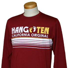 HANG TEN(ハンテン)_メンズ_長袖Tシャツ(ロゴボーダー柄)【ワイン(14)】_TM6322