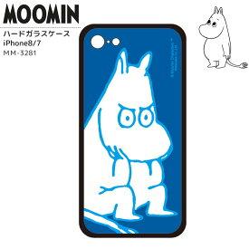 ムーミン iPhoneケース iPhoneカバー iPhone7 iPhone8 ハードガラスケース 背面ガラス 強化ガラス MOOMIN ブルー おしゃれ かわいい キャラクター グッズ