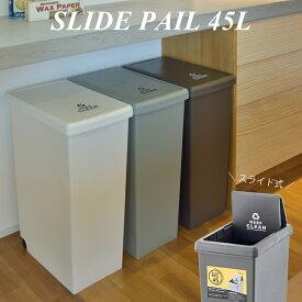 スライド式 ゴミ箱 45L 角型 日本製 大容量 屋内 屋外 ふた付き 蓋付き キャスタ付き プラスチック ダストボックス おしゃれ インテリア 置物 (メーカー直送、代引き不可)