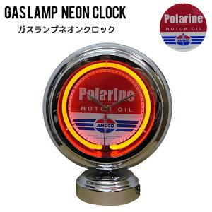 ガスランプネオンクロックGASLAMPNEONCLOCK時計スタンド壁掛け照明ライト電飾置物アメリカンおしゃれデスクガレージダイニングリビング寝室