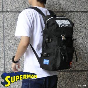スーパーマンマウンテンリュックサックデイパックバックパックバッグ通学レディースメンズおしゃれかわいいプレゼントかばんバッグキャラクターSUPERMANグッズブラック