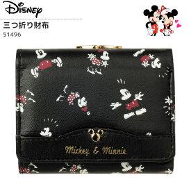 e27906a624a9 ディズニー 三つ折り財布 がま口 コンパクト 合成皮革 財布 ブラック disney ミッキー ミニー シンプル かわいい おしゃれ