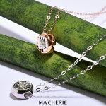 MACHERIEマシェリ天然ダイヤモンドネックレスレディースK18Au750/0.025ct白金ホワイトゴールドピンクゴールドネックレスダイヤモンド