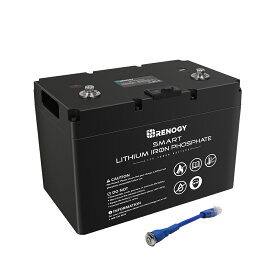【PSE認証済】RENOGY スマート リチウムイオンバッテリー 12V 100Ah 1280Wh 充放電サイクル4000回以上 リン酸鉄リチウムイオンバッテリー ポータブル電源 キャンピングカー 車 サブバッテリー BMS保護 並列可能 車のバッテリー 自動車 バッテリー リン酸鉄バッテリー