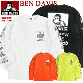 BEN DAVIS Tシャツ ベンデイビス 袖プリント ゴリラ アイコン 長袖Tシャツ バックプリント メンズ ロンT クルーネック ロゴプリント ベンデービス ゴリラタグ 袖ロゴ アメカジ ストリート カジュアル メンズファッション BEN-1413