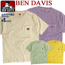 BENDAVIS Tシャツ ベンデイビス 胸ポケットTシャツ メンズ ポケット付き 半袖Tシャツ ピグメント加工 ベンデイヴィス 色落ち加工 ポケットT クルーネック ベンデービス ゴリラアイコン ブランドタグ アメカジ カジュアルファッション BEN-1376