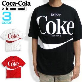 コカ・コーラ Tシャツ ボトルプリント 半袖Tシャツ Coca-Cola ロゴプリント メンズ ワイドシルエット トップス b-one-soul コラボデザイン ロゴ プリント メンズトップス ビーワンソウル 商品番号 TSS-325